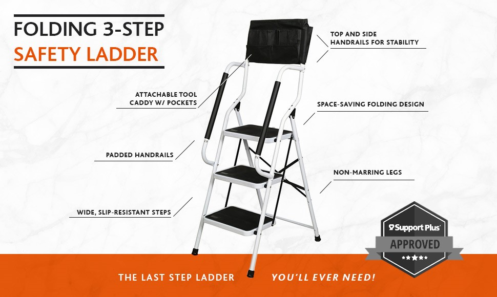 Folding 3 Step Safety Step Ladder Padded Side Handrails
