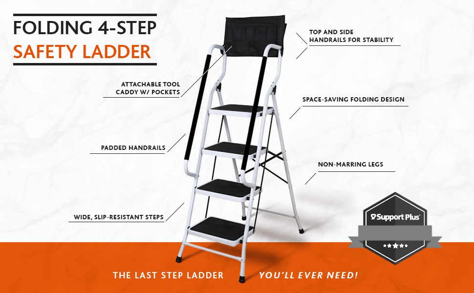 Amazon Com Folding 4 Step Safety Step Ladder Padded