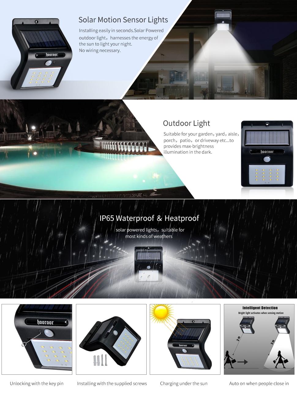 16 LED 6500K Wireless Waterproof Motion Sensor Outdoor Solar Lights For  Patio, Deck, Yard, Garden, Porch, Driveway, Etc.