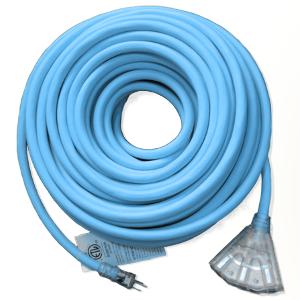 Triple End NEMA 5-15 SJEOW Heavy Duty 12 Gauge Extension Cord Blue
