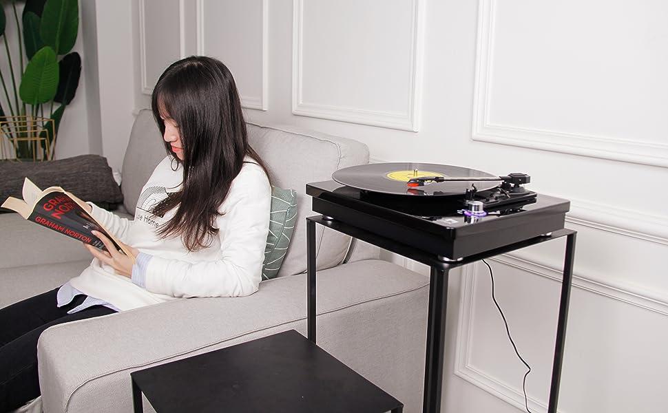 Amazon.com: miric Turntable de 3 velocidades Tocadiscos con ...