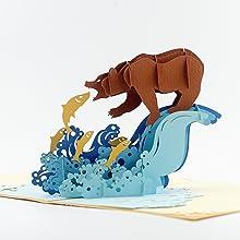 CUTEPOPUP 3D BEAR CATCHING SALMON POPUP CARD