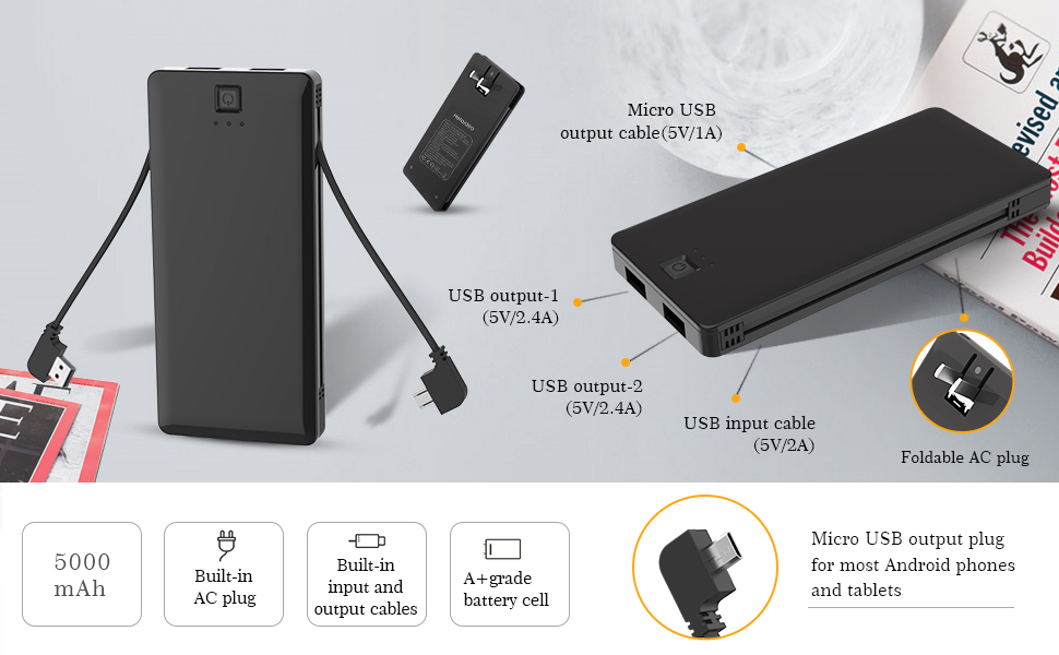 Amazon Com Power Bank With Built In Ac Adapter And Micro