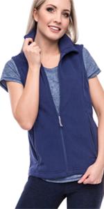 Oalka Women's Spring Fall Full Zip Fleece Vest Navy Blue For Women Girl Black Vest