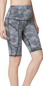 Oalka Women's Short Yoga Out Side Pockets High Waist Tummy Control Workout Running Shorts Black Girl