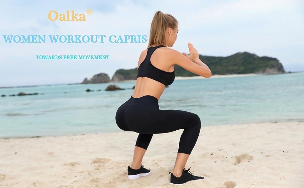Oalka Women's Yoga Capris Power Flex Running Pants Workout Leggings Pockets Fittness Athletic Pants