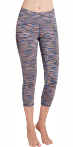 Oalka Women's Yoga Capris Power Flex Running Pants Workout Tummy Control Leggings For Women Girls