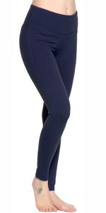 Oalka Women Power Flex Yoga Tummy Control Pants Workout Running Leggings Navy Blue For Women Girl