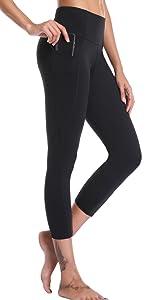 Oalka Women's Yoga Out Pockets Capris Power Flex Running Pants Workout Leggings Black For Women Girl