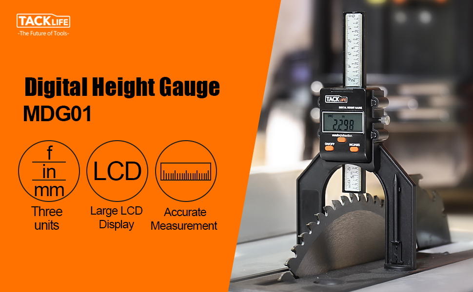 Magnet Based Stainless Steel Locking Screw Digital Height Gauge Depth Gauge with Three Measurement Modes MDG01 Large Digital Display for Woodworking Router Table