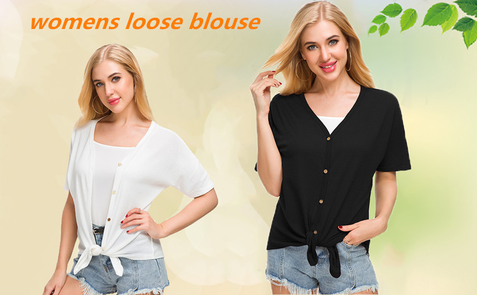 d8366417 MOUEEY Women's Casual Tops Short Sleeve V Neck Button Down Loose Blouse  Shirts