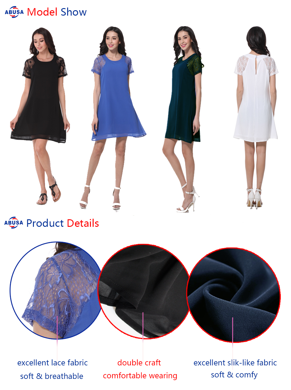 ABUSA Womens Dresses Casual Summer Special Occasion Lace Chiffon ...