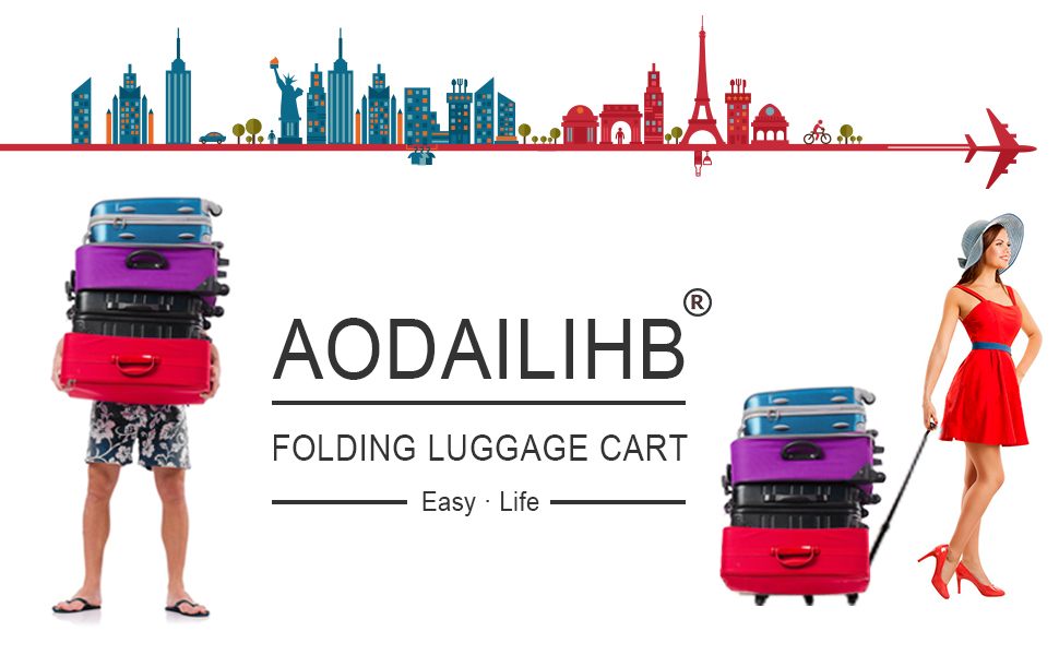 8cdafc88fe51 AODAILIHB Portable Folding Luggage Cart 360° Rotate Wheels Load 440 pounds  (Red)