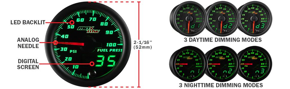 MaxTow Double Vision 100 PSI Fuel Pressure Gauge Kit