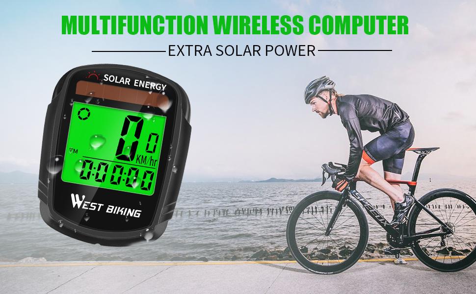 bike computer wireless waterproof solar energy