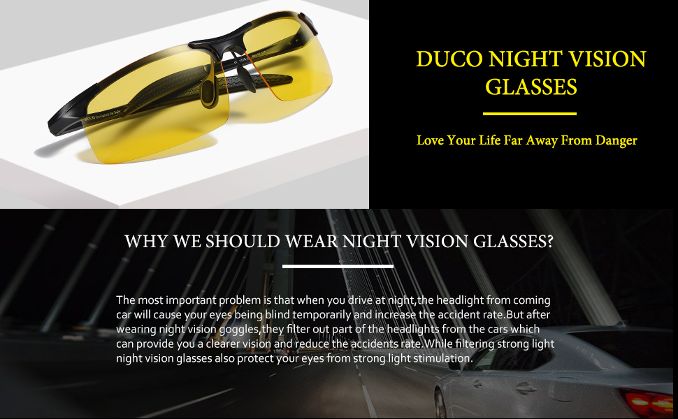 0c2c6f4bdf0 Amazon.com  Duco Night-vision Glasses Polarized Night Driving Men s ...
