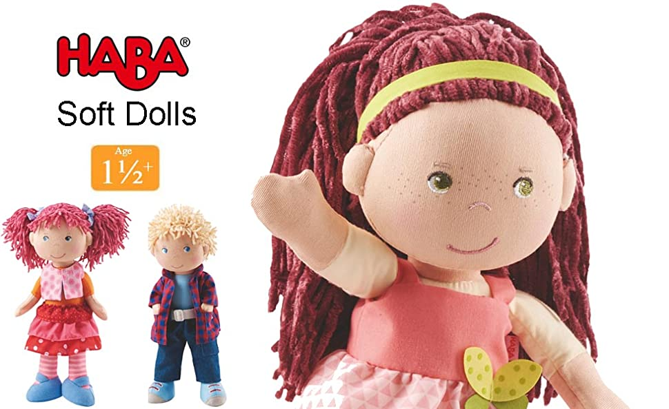 """HABA Mona 12/"""" Soft Doll with Auburn Hair Green Eyes and Embroidered Face"""