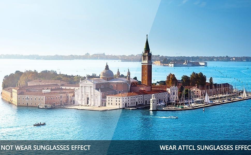 7db6aa69ad ATTCL Men s Driving Polarized Rimless Sunglasses Al-Mg Metal Frame ...