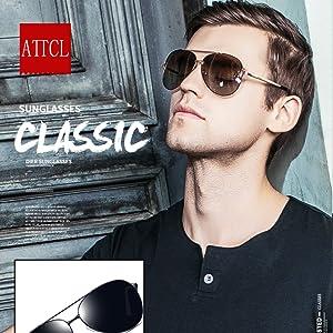 e65aedfa6a ATTCL Men s Driving Polarized Rimless Sunglasses Al-Mg Metal Frame ...