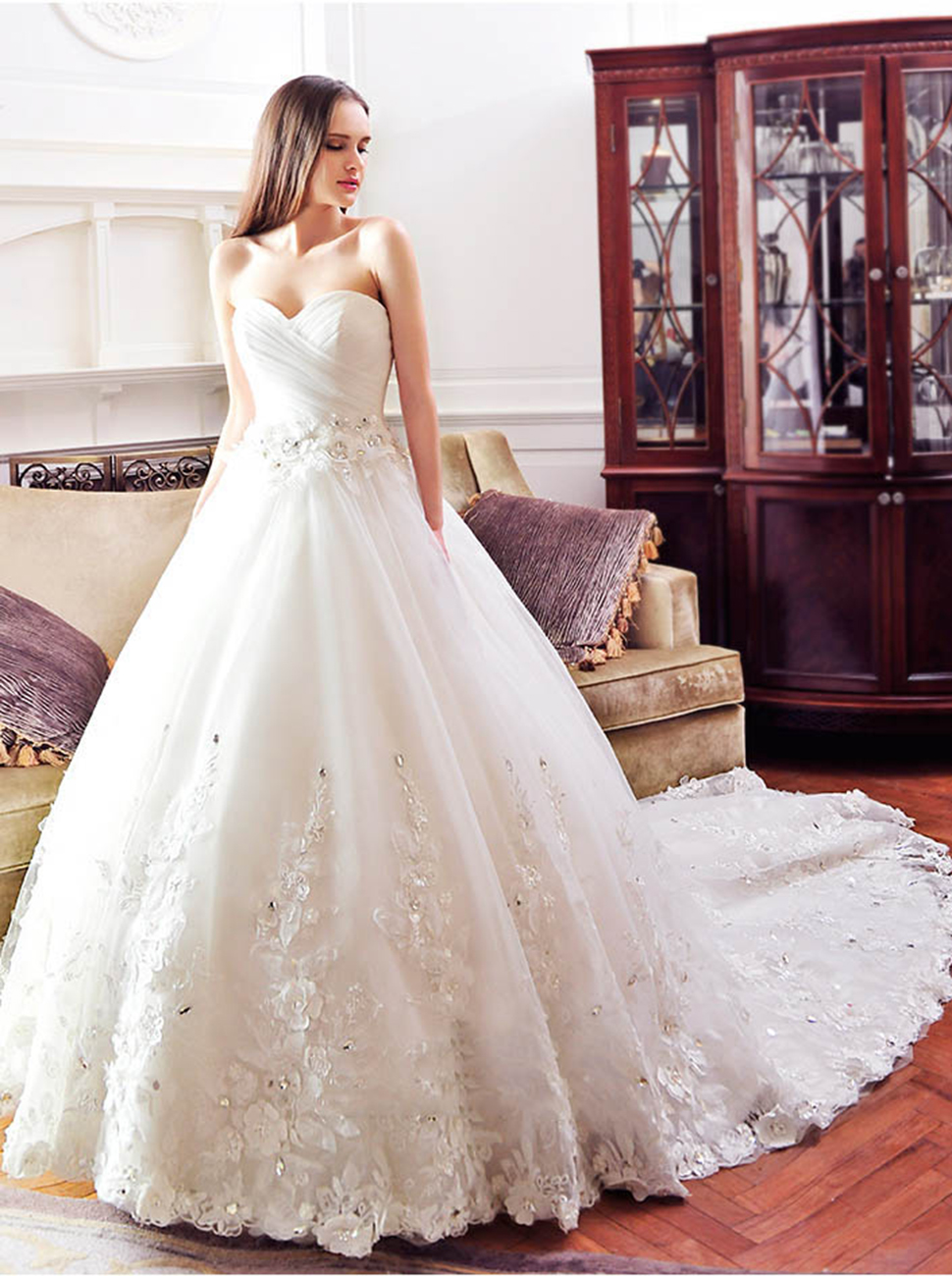 Sisjuly Beaded Lace Appliques Ball Gown Wedding Dress For Bride at ...