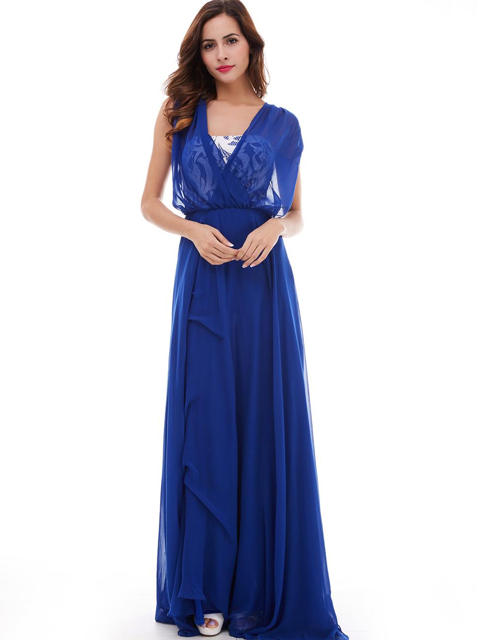 Amazon.com: Sisjuly Women\'s A-Line V-Neck Cap Sleeves Lace Long ...