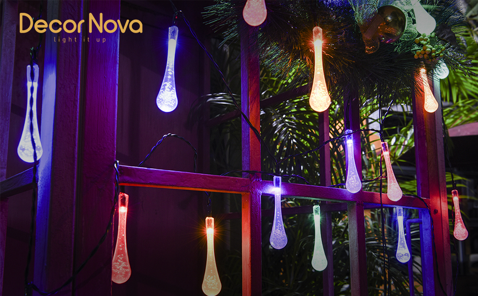Add A Fairy Touch To Your Gardens Or Patios With These Colorful Raindrop  String Lights!
