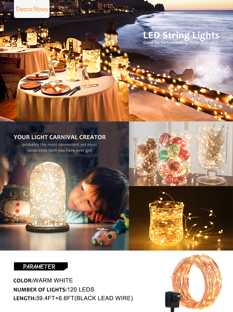 Amazon.com: Fairy Lights, DecorNova 120 LEDs 40 Feet Flexible ...