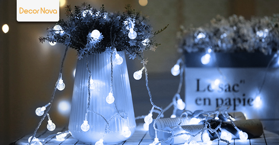 197 feet 30 led solar string lights outdoor crystal ball fairy add a fairy touch to your garden patio in just minutes with these solar powered globe string lights aloadofball Gallery