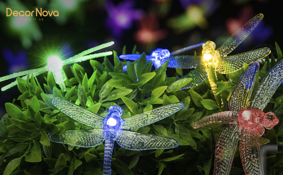 Add A Fairy Touch To Your Gardens Or Patios With These Adorable Dragonfly  String Lights!