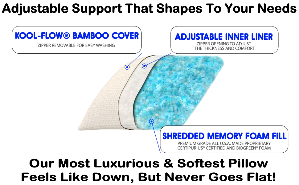 adjustable pillow with down alternative fiber, shredded memory foam, my soft supportive neck pillows