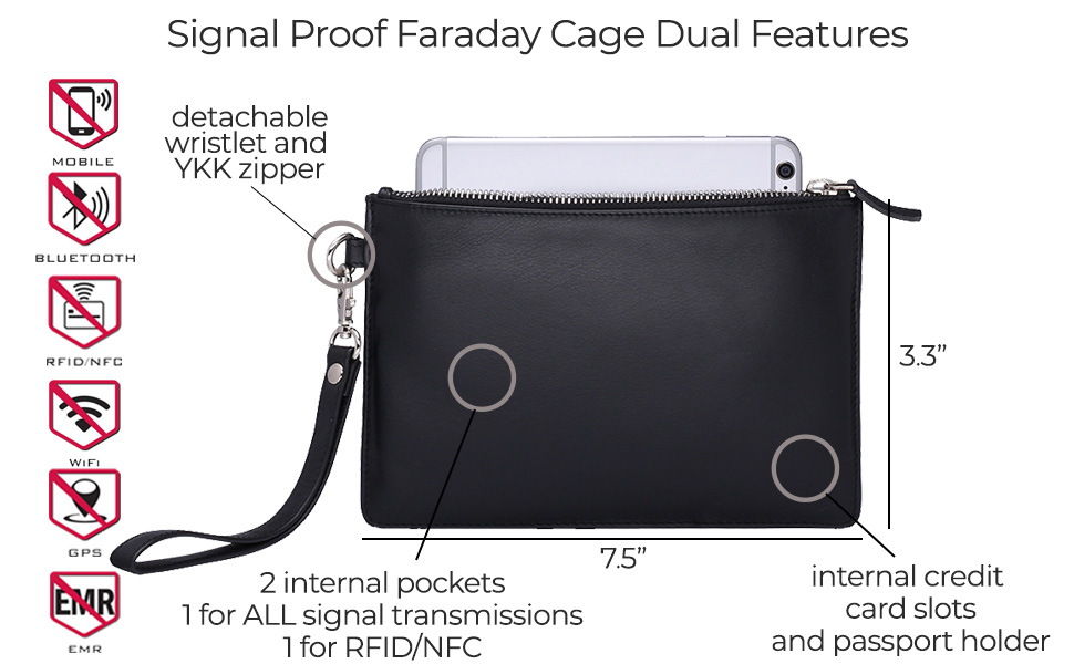 dual pocket faraday cage signal proof blocks safe secure safety hackers theft travel