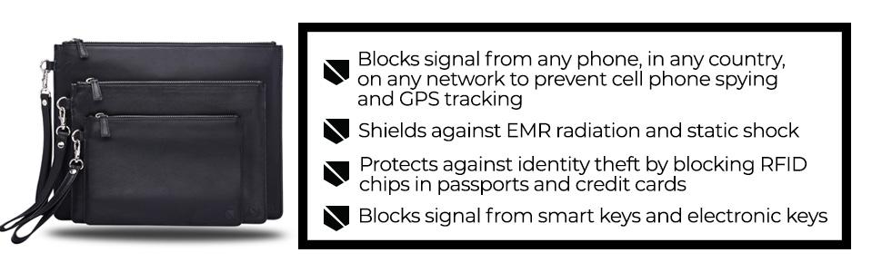 blocks signal phone network gps tracking EMR radiation static shock RFID passport safe secure
