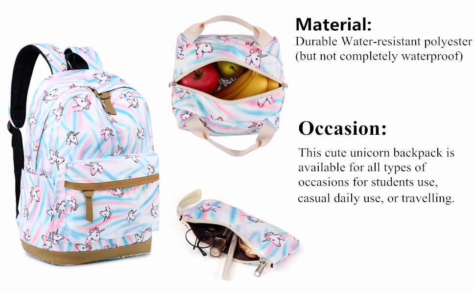 e1dfd6e96859 BLUBOON Backpack for School Girls Teens Bookbag Set Kids Laptop Backpack  Lunch Box Purse White- Rainbow