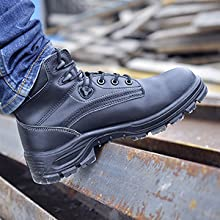Men fashion work boots steel toe safety shoes non slip