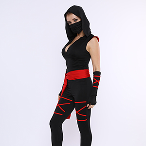 Colorful House Women Ninja Costume, Black Deadly Assassin Costume 5 Pieces