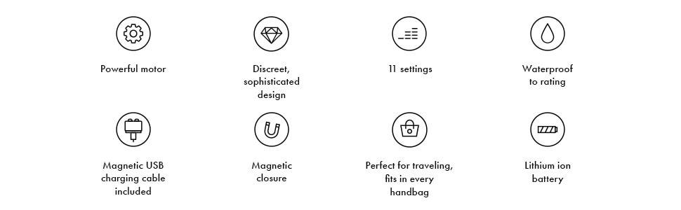 powerful-motor, 11 settings, waterproof, handbag, discreet, lithium-ion-battery, new design