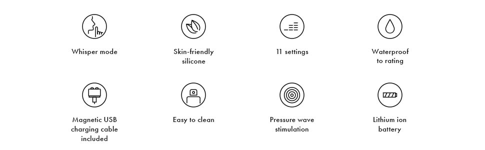 whisper-mode, skin-friendly silicone, 11 settings, easy-to-clean, lithium-ion-battery