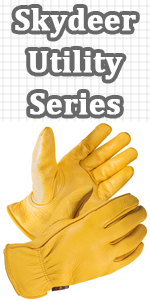 SKYDEER Men Deerskin Leather Hi-Performance Utility Work Gloves