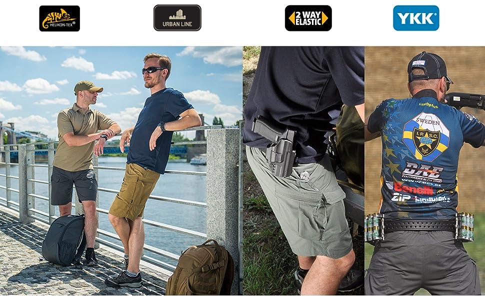 Helikon-Tex Urban Line, Urban Tactical Shorts in 3 different action scenarios