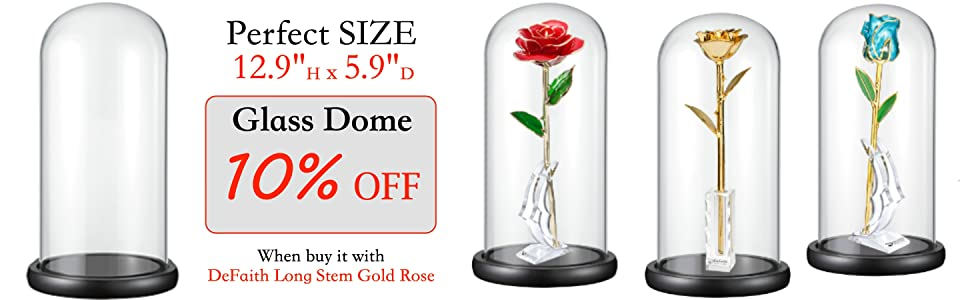 DeFaith Glass Dome for 24K Gold Dipped Rose