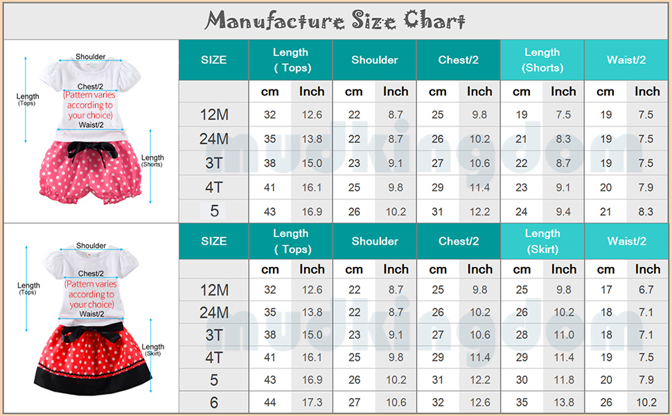 f2f3fba08cf Manufacture Size Chart of Mud Kingdom Little Girls Birthday Clothes Sets  For Gifts