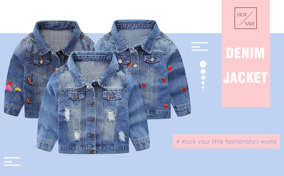 Mud Kingdom Little Girls Denim Jacket Cute Embroidery Outerwear