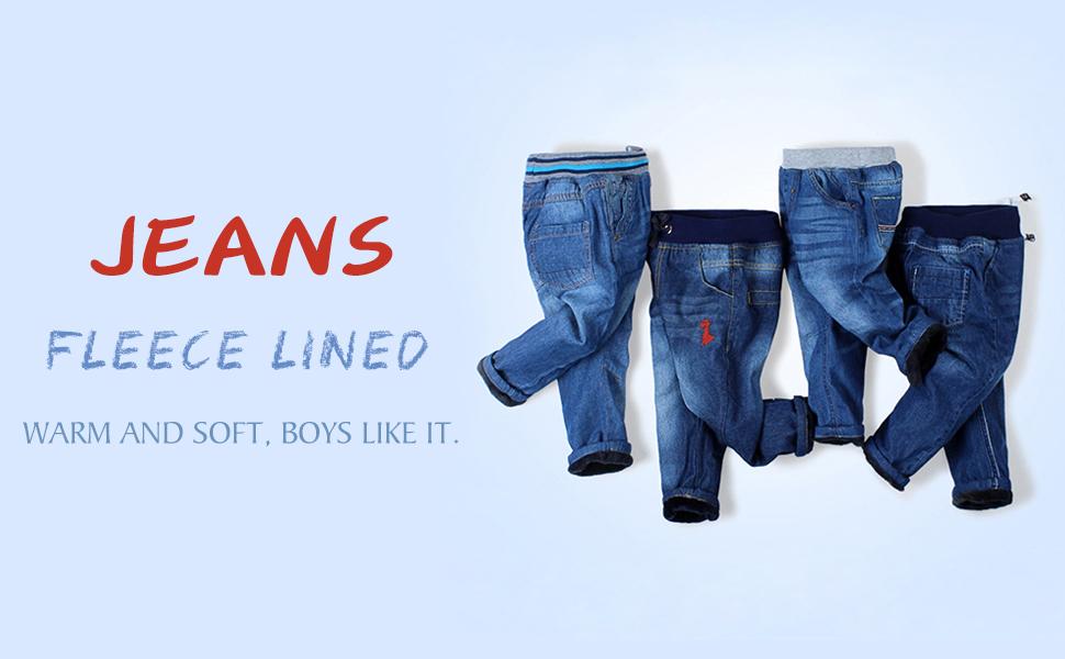Mud Kingdom Boys Winter Denim Jeans with Fleece Lining