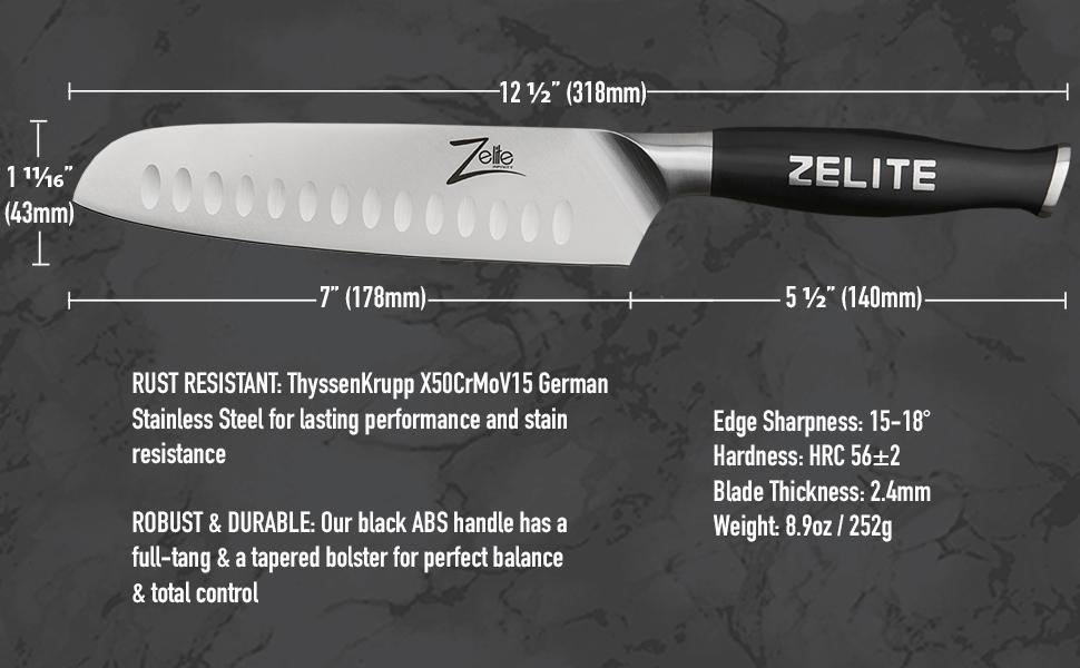 """Zelite Infinity Comfort-Pro Santoku 7"""" High Carbon German Stainless steel razor-sharp best value"""