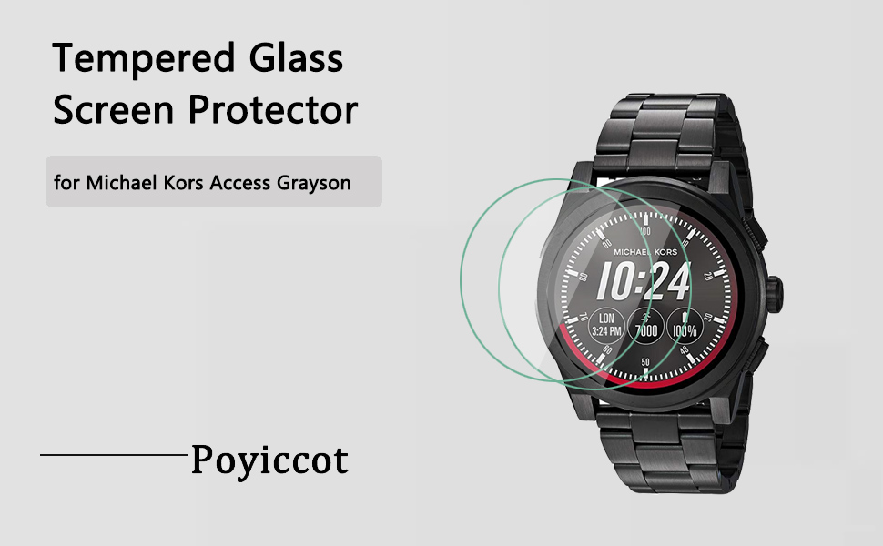 Compatible for Michael Kors Access Grayson (Gen2) Screen Protector, Poyiccot (2-Pack) 9H Premium Anti-Scratch Tempered Glass for MK Access Grayson