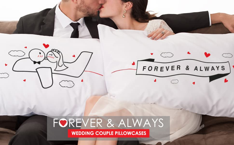amazon com boldloft forever and always couple pillowcases for bride