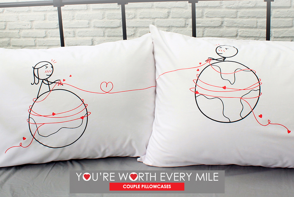 Pillowcase Design For Couples: Amazon com  BOLDLOFT You Are Worth Every Mile Couples Pillowcases    ,