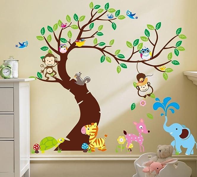 amazon com rainbow fox lovely blooms zoo nursery children s room rh amazon com Stickers for Glass Jars Wall Stickers Decor