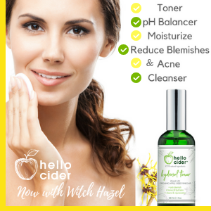 Hello Cider ACV Acne Face Toner Spray Pads Witch Hazel Tea Tree Lavender Rose Teen Organic Natural