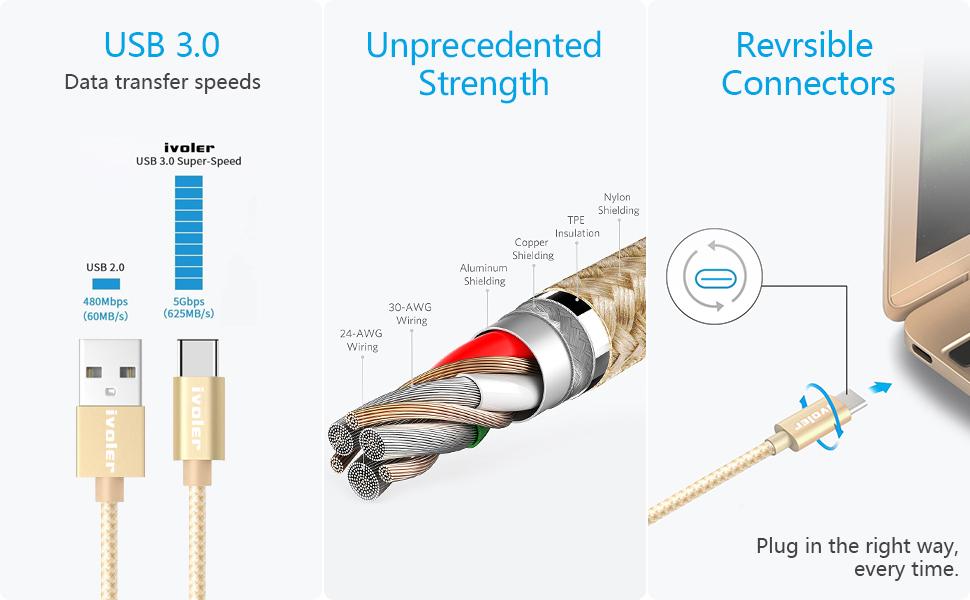 Cargador USB Tipo C de Nylon Trenzado Carga R/ápida y Sincronizaci/ón Compatible con Samsung 3 Pack: 3M+3M+3M Xiaomi Oro iVoler Cable USB Tipo C a USB A 3.0 Huawei y M/ás